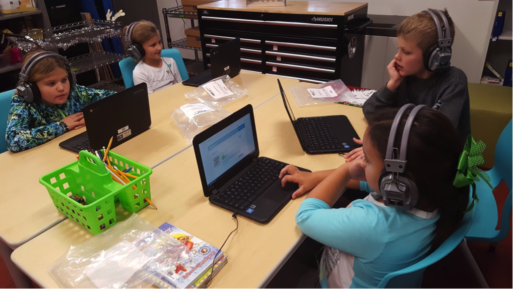 students listening to audio books